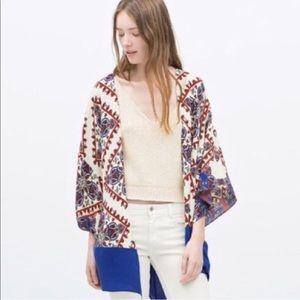 Zara Paisley Print Kimono Jacket Blue Red White
